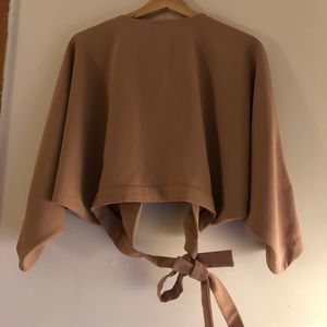 Taupe/Pink Crop Wrap Top from NastyGal